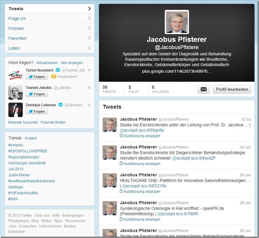 Prof. Dr. Jacobus Pfisterer auf Twitter